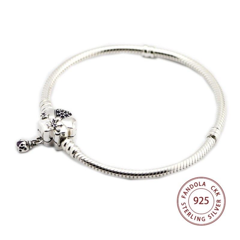 FANDOLA Wildflower Meadow Clasp Bracelet Argent 925 Silver Charms Bracelets for Women Sterling Silver Jewelry Berloques wildflower