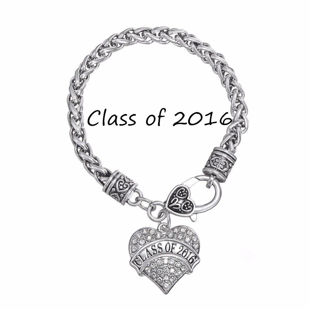 My Shape Wholesale Class Of 2016 Crystal Heart Charm Graduation Gift  Bracelet For Teen Girls(