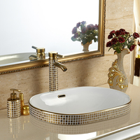 European style gold plated pan basin, semi embedded platform basin, oval washbasin, golden washbasin, ceramic basin