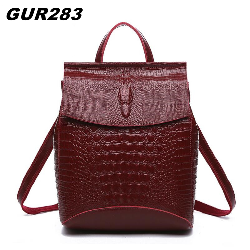 Fashion Backpack Women Genuine Leather School Bags For Girls Travel Shoulder Bag Female High Quality Crocodile Daily Daypacks