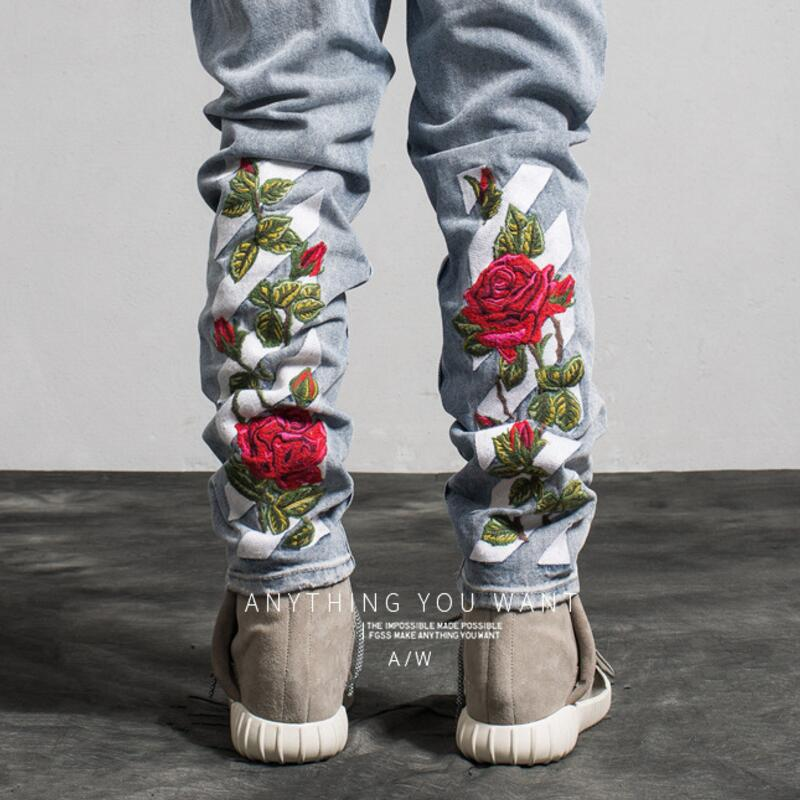 2018 Embroidered New Designer Men Jeans Hip Hop Luxury Floral Embroidered Hole Ripped Printed Jeans Q0008 ...