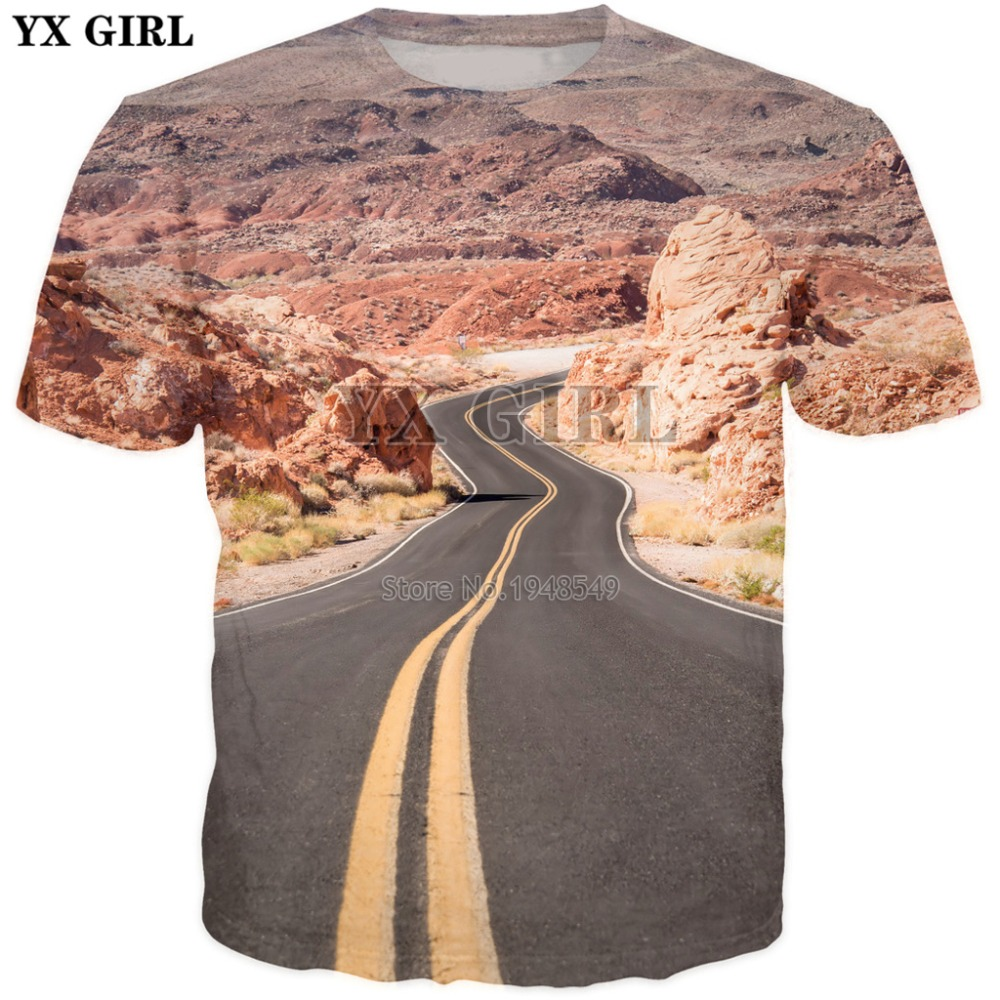 YX GIRL 2018 summer New style Fashion T-Shirt Road trip USA 3D Print Men's Women's Harajuku Casual t shirt Drop shipping image