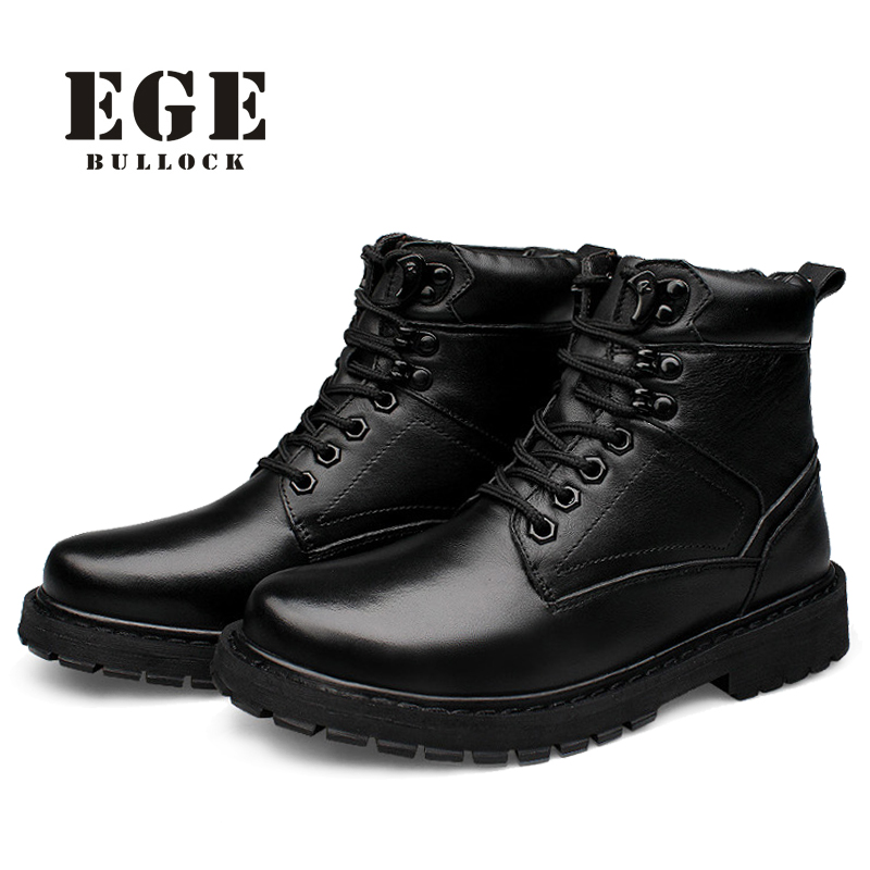37-50 Top Quality Genuine Leather Men Warmest Winter Boots,Waterproof Snow Boots Men,Lace-Up Fashion Shoes Men Motorcycle Boots warmest genuine leather snow boots size 37 50 brand russian style men winter shoes 8815