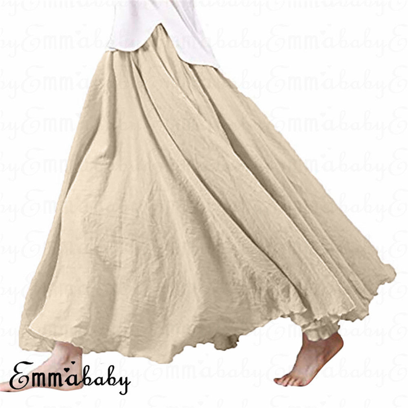 New Fashion Women Holiday Ethnic Cotton Linen Skirts Ruffles Summer Pleated Fashion Skirts Female Clothes