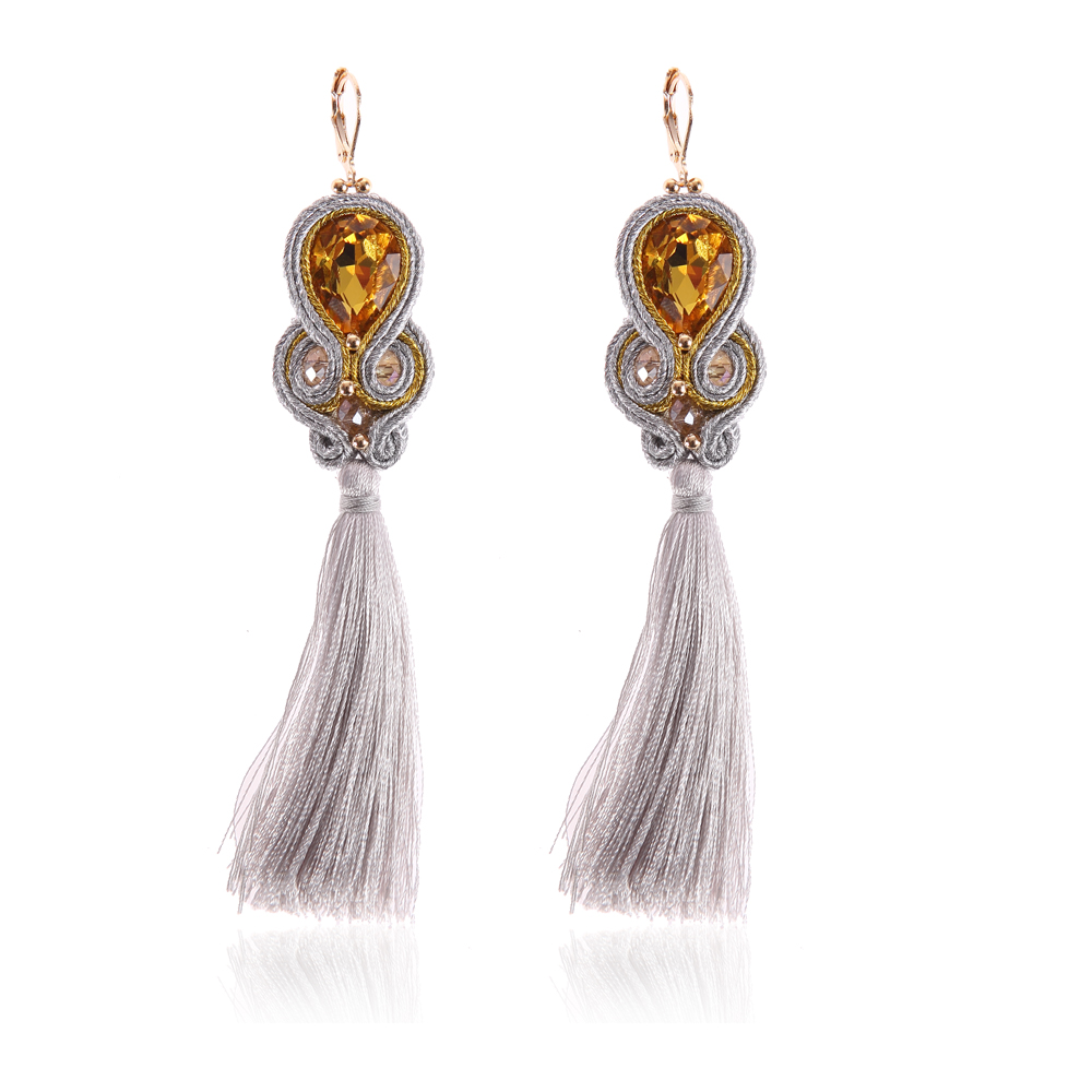 KPacTa Fashion Soutache Handmade Long Tassel Earring Ethnic Jewelry Women Crystal Popular Accessories Drop Earring Oorbellen in Drop Earrings from Jewelry Accessories