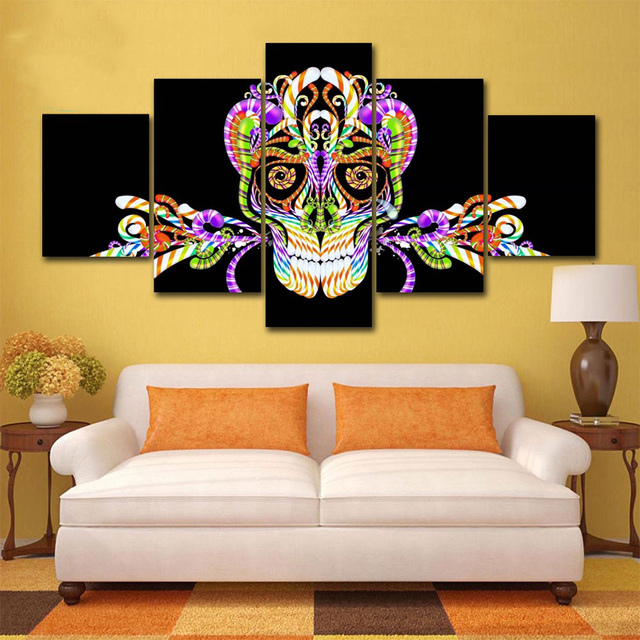 Modern Abstract 5 Panel Skull Print Painting Canvas Wall Art ...