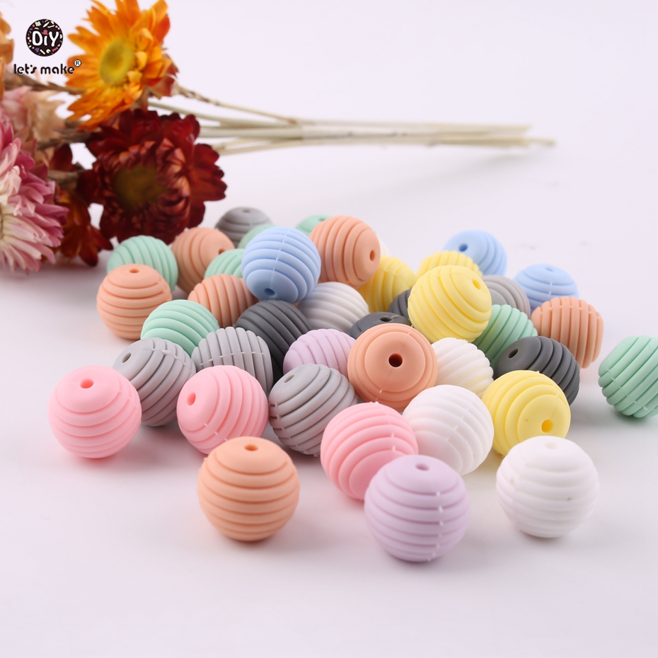Lets make 15mm Silicone Spiral Beads 100pcs BPA Free Food Grade Silicone Teether DIY Teething Necklace Jewelry Baby Teether