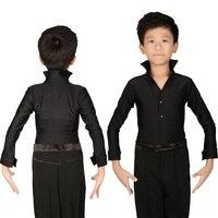 Classical Black Boys Latin Ballroom Dance Shirts Long Sleeve Modern Tango Dance Clothing Top Kids Stage
