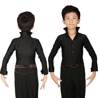 Classical Black Boys Latin Ballroom Dance Shirts Long Sleeve Modern Tango Dance Clothing Top Kids Stage