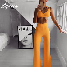 Bqueen Casual Women 2 Piece Set Fitness Halter Short Top Long Pants For Female High Waist Leggings And Bra Suit Sets 2019(China)