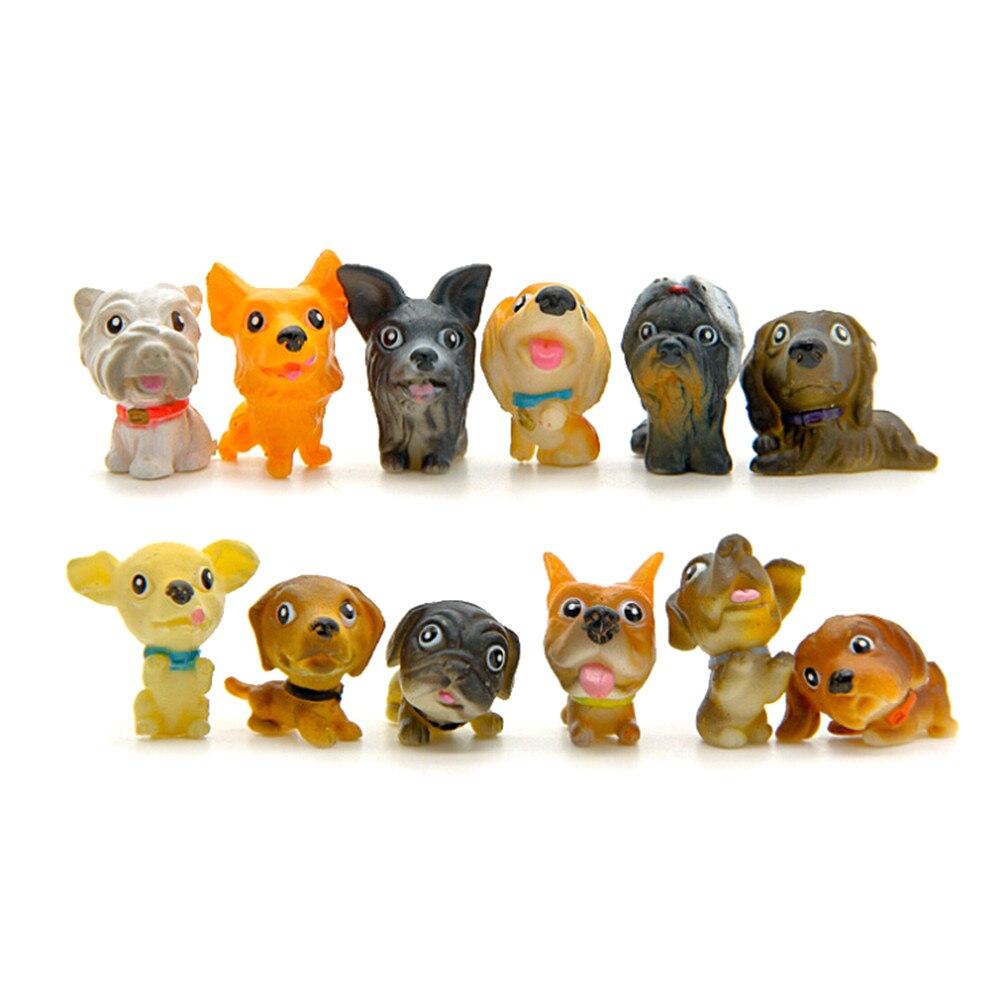 12pcs/set Kawaii Pvc Miniature Puppy Mini Cartoon Dogs Figurines Animal Ornaments Table Decoration Home Decor Garden Ornament Artificial Decorations