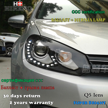 Hireno Headlamp for 2009-2012 Volkswagen Golf 6 Golf6 Headlight Assembly LED DRL Angel Lens Double Beam HID Xenon 2pcs