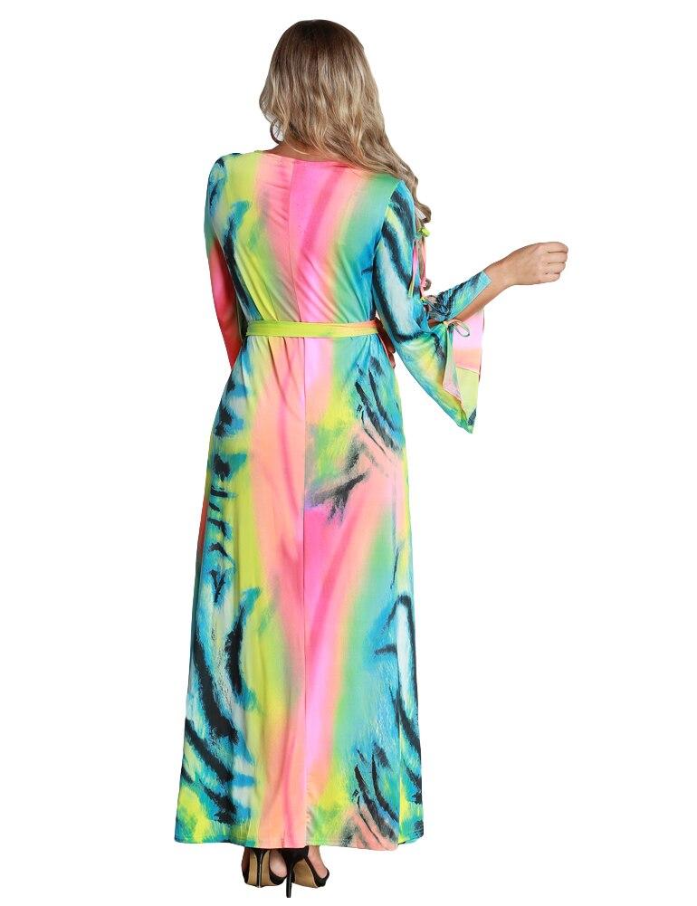 XXXXXXL Autumn Fashion Women Plus Size Maxi Dress Contrast Color Lace Dress  Long Sleeve Bandage Tie Belted Long Dress 6XL XXXL-in Dresses from Women s  ... 22604a4985e1