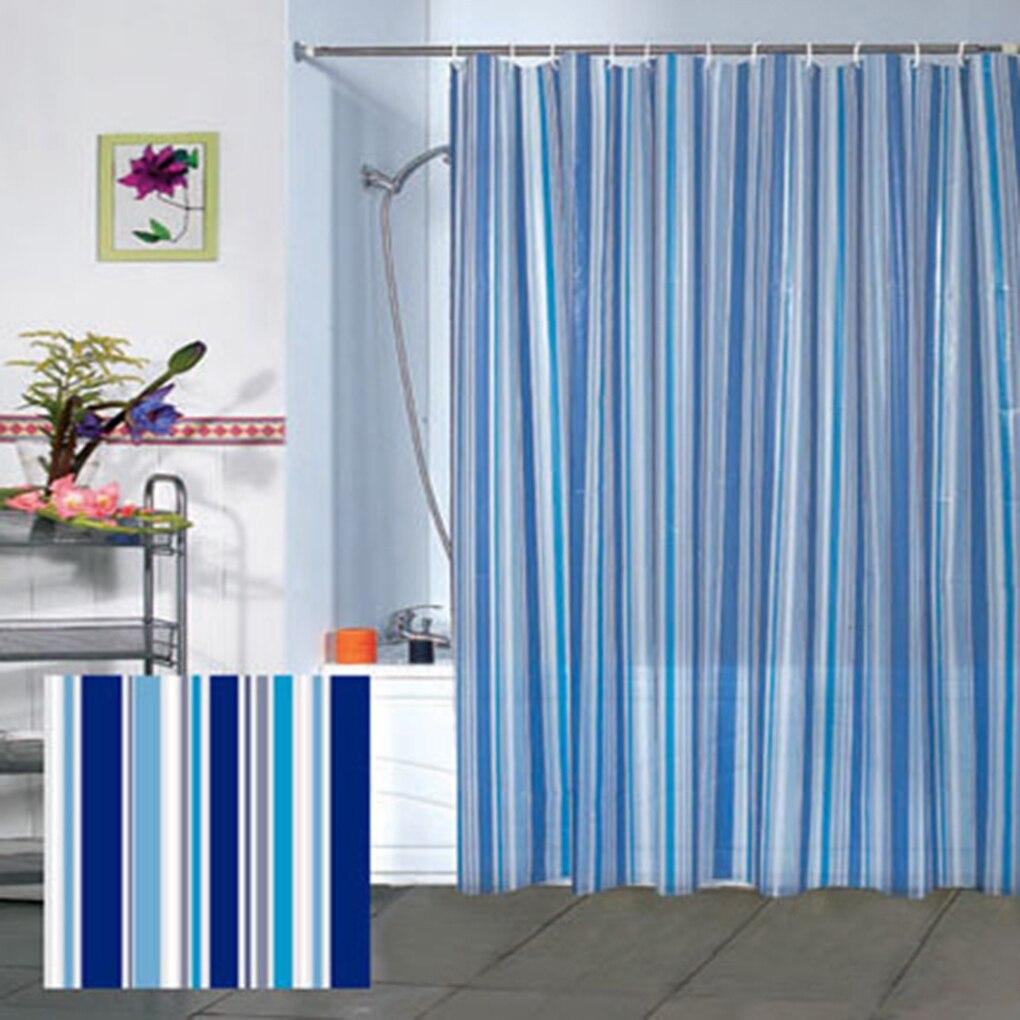 non toxic no smell blue vertical striped peva bathroom. Black Bedroom Furniture Sets. Home Design Ideas