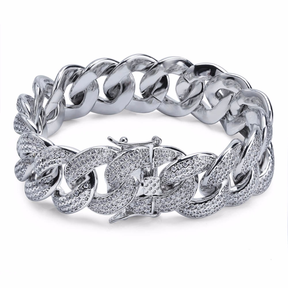 Silver Gold Color AAA Zircon Round Miami Cuban Chain Bracelet Men Hip Hop Bling Iced Out