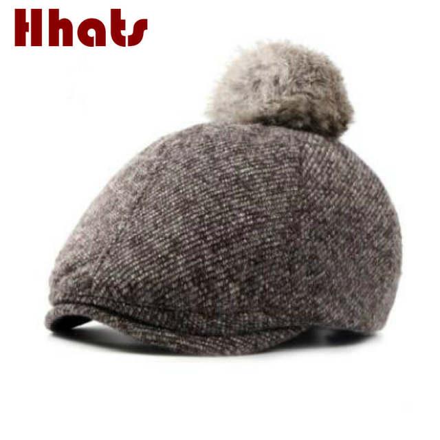 a382dca6c60 placeholder which in shower kids girl real rabbit fur pompom wool beret hat  children polyester woolen fur