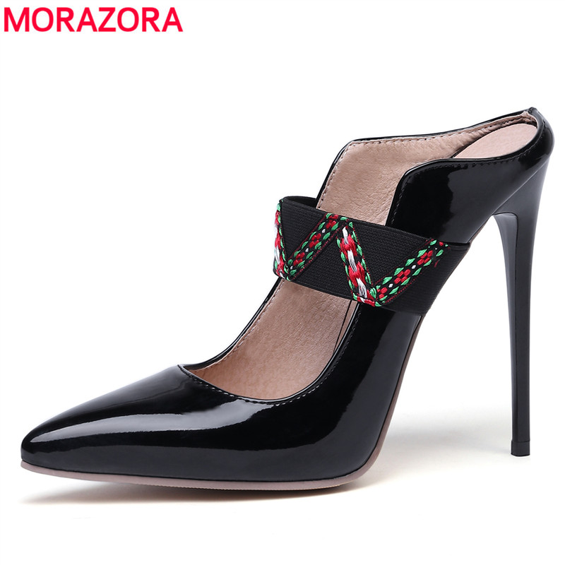 MORAZORA Plus size 34-47 new 2019 <font><b>Sexy</b></font> ultra <font><b>high</b></font> <font><b>heels</b></font> shoes women mules <font><b>12cm</b></font> ladies summer shoes pointed toe party shoes image