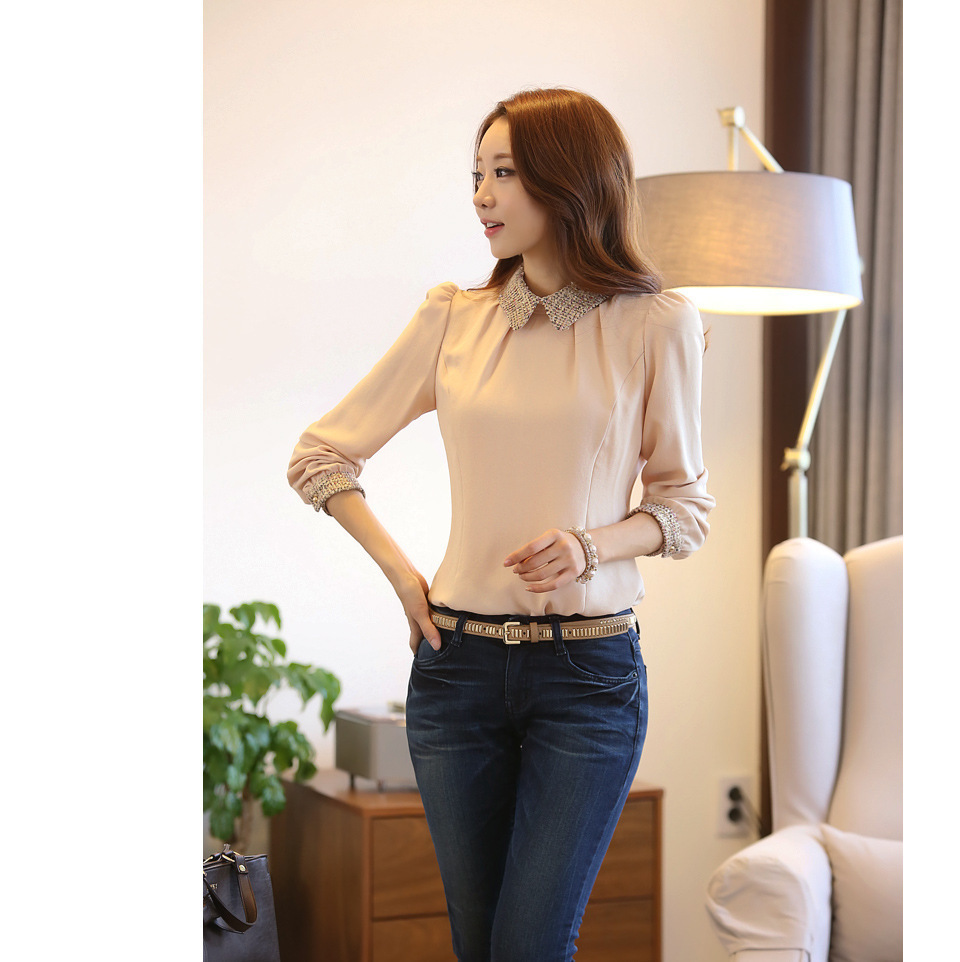 5971a82c850 2016 Spring Women Blouse Slim Gold Sequins Blouses Plus Size s 2xl Shirt  Women Pater Pan Collar Tops Blusas-in Blouses   Shirts from Women s  Clothing on ...