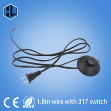 line Cable On Off Power Cord 1.8m For LED Lamp with 317 Button switch  EU/US Plug Light Switching White or Black Wire Extension