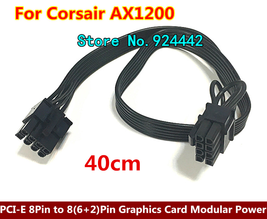High Quality 12 PCI-E 8Pin to 8(6+2)-Pin Graphics Card Modular Power Supply Cable Cord 18AWG for Corsair AX1200 Send by DHL 2pcs lot pci e graphics card modular power cable psu 8pin to pci e express 8pin 6pin for antec eco tp np series
