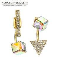 のneoglory made with swarovski elementsクリスタルファッションライトイエローゴールドカラースクエアイヤリング女