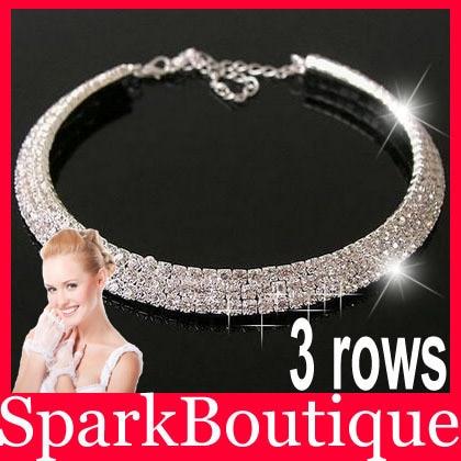 (38% off on wholesale) Auden Crystal Rhinestone 3 Rows Bride Wedding Necklace Bridal Jewelry