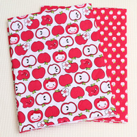 Cotton Fabric Type Red Apple Print Cloth For Sewing Patchwork Pattern Fabrics Meter Baby Doll Cloth
