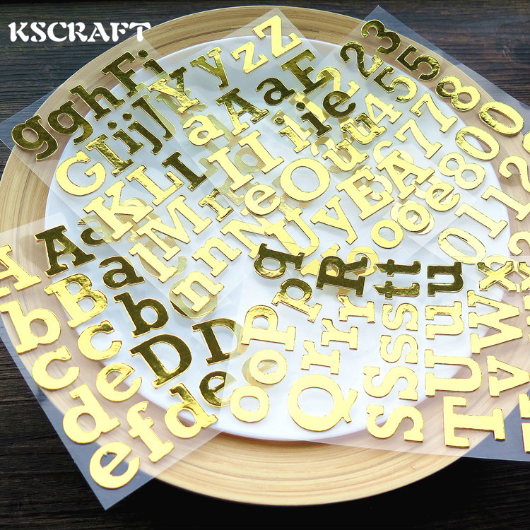 KSCRAFT Golden Capital Letters Die Cut Self-adhesive Stickers for Scrapbooking Happy Planner/Card Making/Journaling Project ...