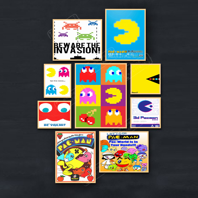 finest selection cd84c 96428 Pacman 8 Bit World Vintage Video Games Propaganda Poster Retro Decorative  DIY Wall Stickers Art Home Bar Posters Decor Gift