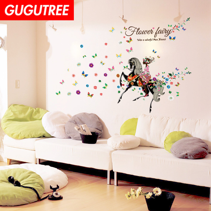 Decorate horse belle buttlefly art wall sticker decoration Decals mural painting Removable Decor Wallpaper LF-1809