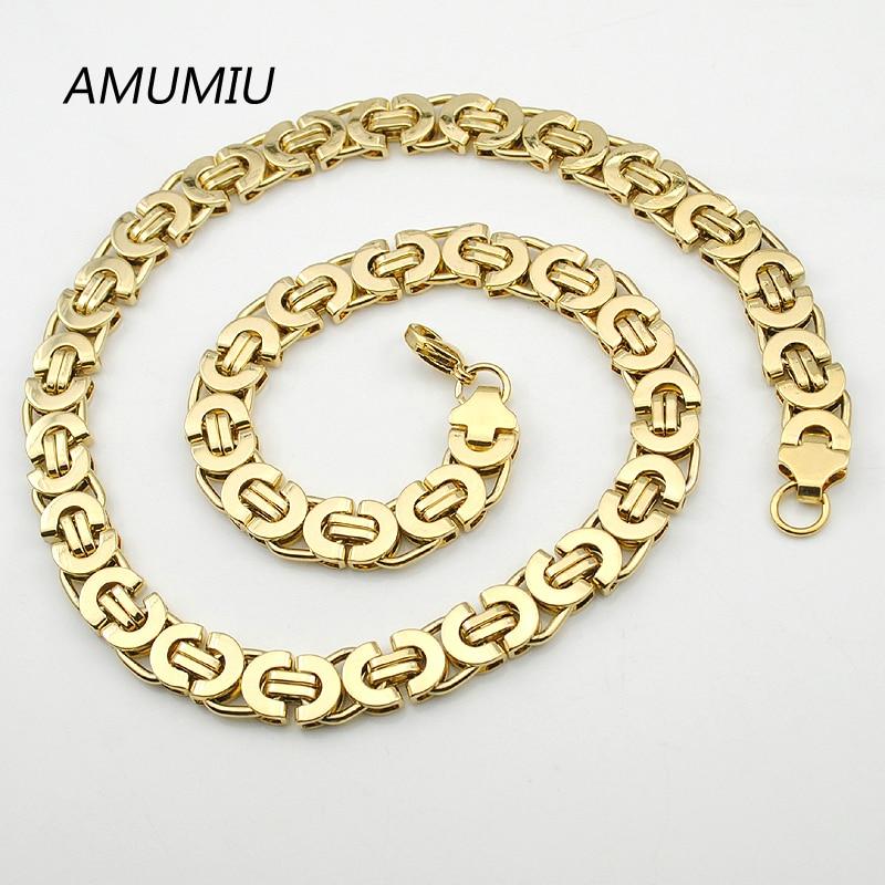 AMUMIU Herren Gold Farbe Kette Edelstahl Halskette Armband Set Flache - Modeschmuck - Foto 3