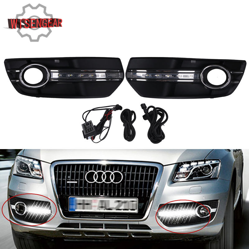 1Set Front Bumper Grille LED Driving Light Daytime Running Light DRL Lamp For Audi Q5 2009 - 2013 STANDARD Bumper Models #PDK579 1set front chrome housing clear lens driving bumper fog light lamp grille cover switch line kit for 2007 2009 toyota camry