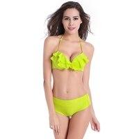 2017 Sexy Bikini Piękne Plaża Strój Kąpielowy Kostium Kąpielowy Push Up Strój Kąpielowy Drukowane Falbanka Swimswear NSYZ036 Femme Maillot