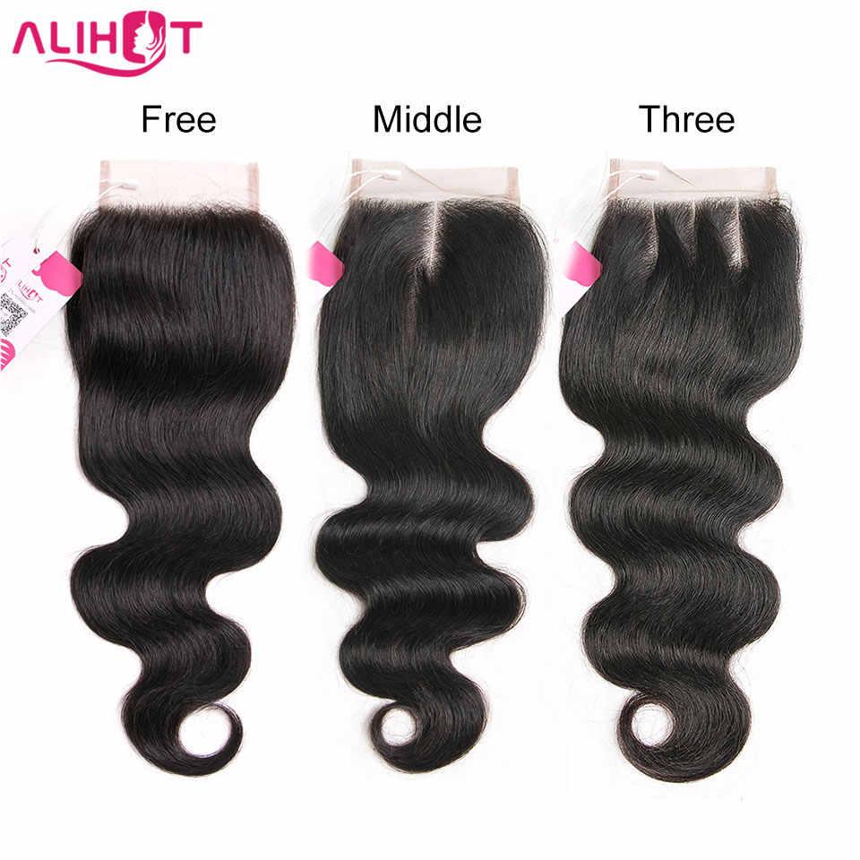Али Горячие перуанские 100% человеческие волосы тела волна 8-22 дюймов 4*4 Кружева закрытие натуральный цвет не завитые здоровые волосы 1 шт.