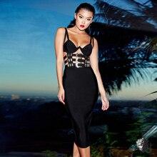 Зимнее платье на тонких бретельках, металлическое черное Бандажное женское сексуальное платье с открытой спиной и v-образным вырезом, Vestidos Verano, Клубная одежда для знаменитостей, вечерние платья