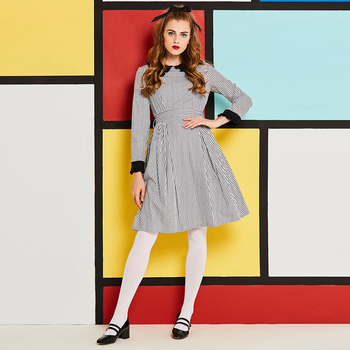 Women 1960s vintage fall casual a-line dress white plaid checkered bowknot bandage dress preppy sweet peter pan collar dress a-line