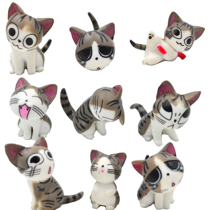 9pcs, Multi Color Micro Cute Kitty Mini Chis Chi Sweet Home Figures Dolls Youhei Cat Kitten Emoticon Emoji Decoration Model Toys