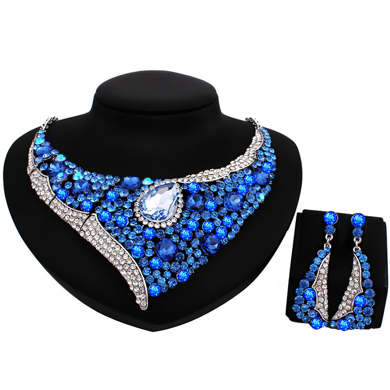 Fashion Sapphire Rhinestone Bridal Jewelry Set Wedding Prom Party Accessories silver Plated Necklace Earring Set For