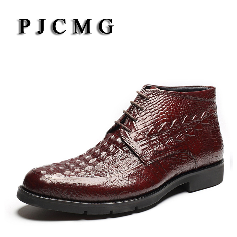 цена на PJCMG Retro Fashion Waterproof Genuine Leather High Quality Lace-Up Pointed Toe Business Ankle Oxford Plat Boots For Winter