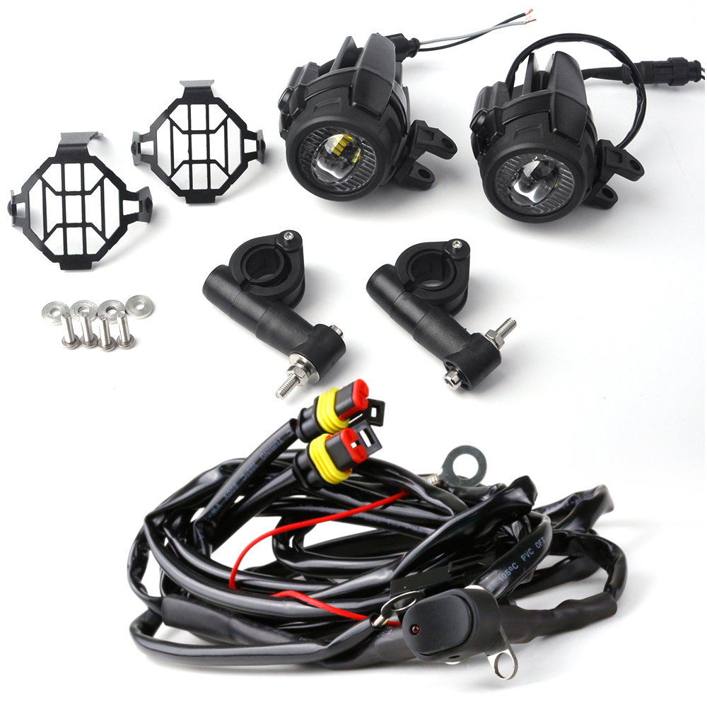 Motorcycle fog lights LED Auxiliary Fog Light Assemblie Driving Lamp 40W For BMW R1200GS ADV F800GS F700GS F650GS K1600 motorcycle auxiliary fog lights protect cover safety driving lamp for bmw k1600 r1200gs adv f800gs auxiliary lights
