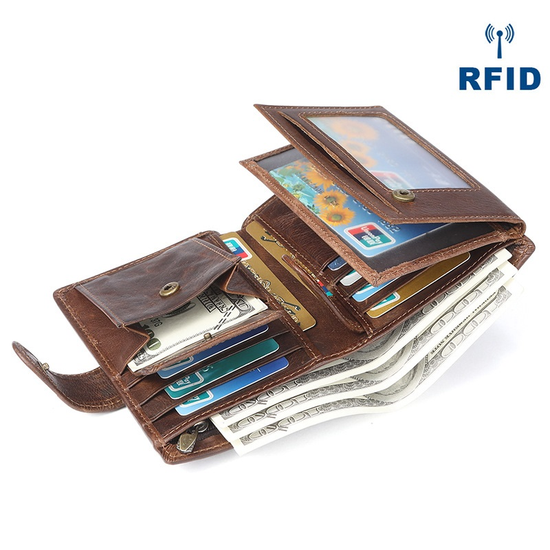 Men Vertical Cow Leather Short Wallet Genuine Leather Purse with Coin Pocket Solid Brown Color Vintage England Style RFID