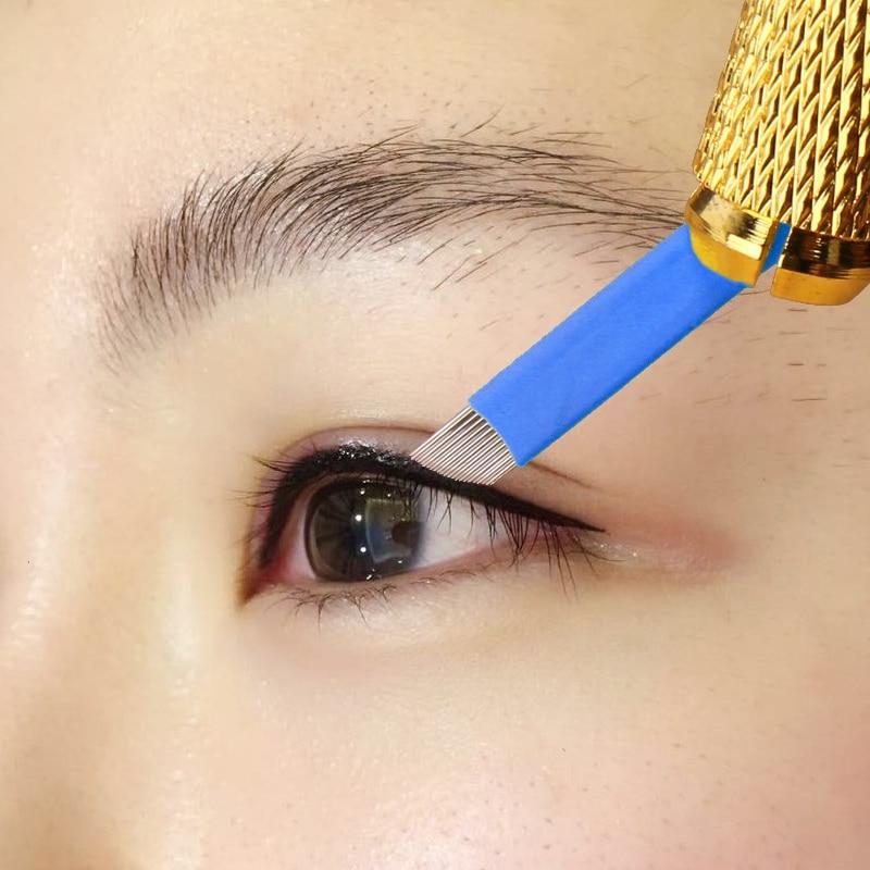 Dedicated Eyeliner Double Rows 23-pin Genuine Semi-permanent Eyebrow Tattoo Needle Manual Eye Line Blade 50pcs/lot