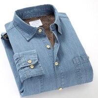 Suehaiwe's brand winter cotton bamboo denim long sleeve warm shirt men plus velvet thick casual shirts male 4XL big shirt camisa