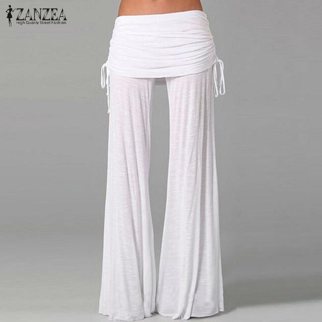 ZANZEA 2016 Mujeres de Primavera y Otoño Pantalones de Pierna Ancha Cintura Elástica Pantalones Femeninos Flojos Ocasionales Sólidos Pantalones de Danza Más El Tamaño S-4XL