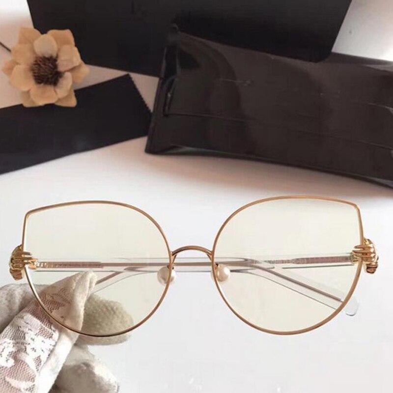 Rbuddy gato olho claro óculos mulher hipster shand claro lente óculos de metal transparente quadro feminino rosa ouro falso óculos 2019