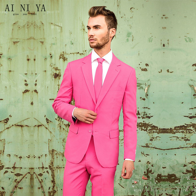 2017 Hot pink mens Trajes padrinos slim fit novio Esmoquin formal ...