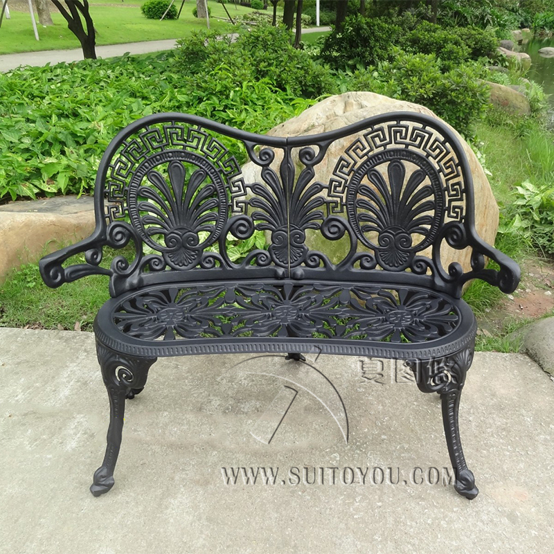 2 person durable luxury cast aluminum leisure garden bench park chair outdoor furniture benches black. beautiful ideas. Home Design Ideas