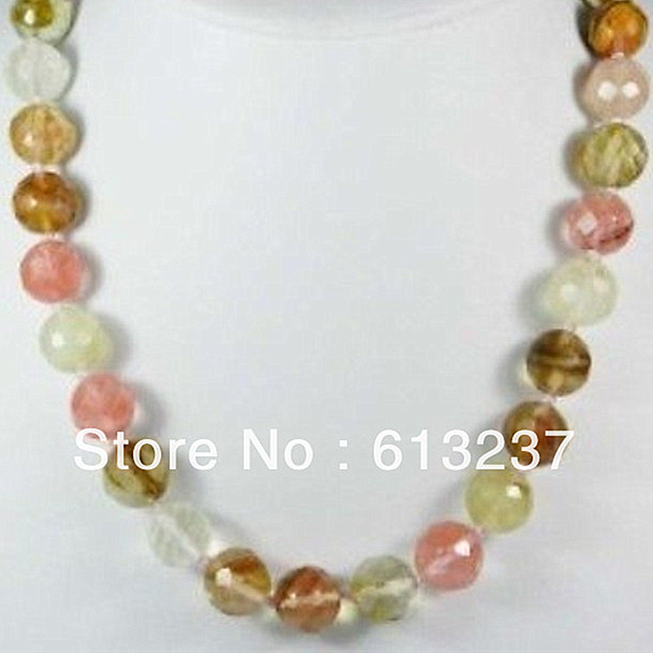 Fashion style 10mm lovely faceted <font><b>watermelon</b></font> <font><b>tourmaline</b></font> stone round beads making necklace 18
