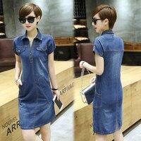 Women's Short sleeve denim dress for women new summer casual jeans dress with button plus size sarafans Vestido feminino