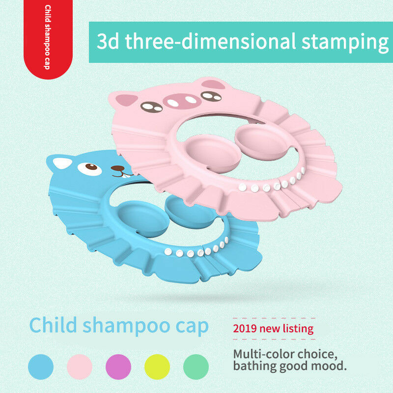 Bath Wash Hair Cap Ear Protection Children Shampoo Cap Shower Caps Baby Shower Shield Hat Safe Soft Hat Adjustable